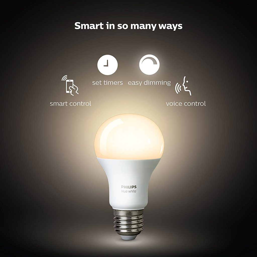 Philips Hue White A19 60W Equivalent LED Smart Bulb Starter Kit -Smart Home Appliance