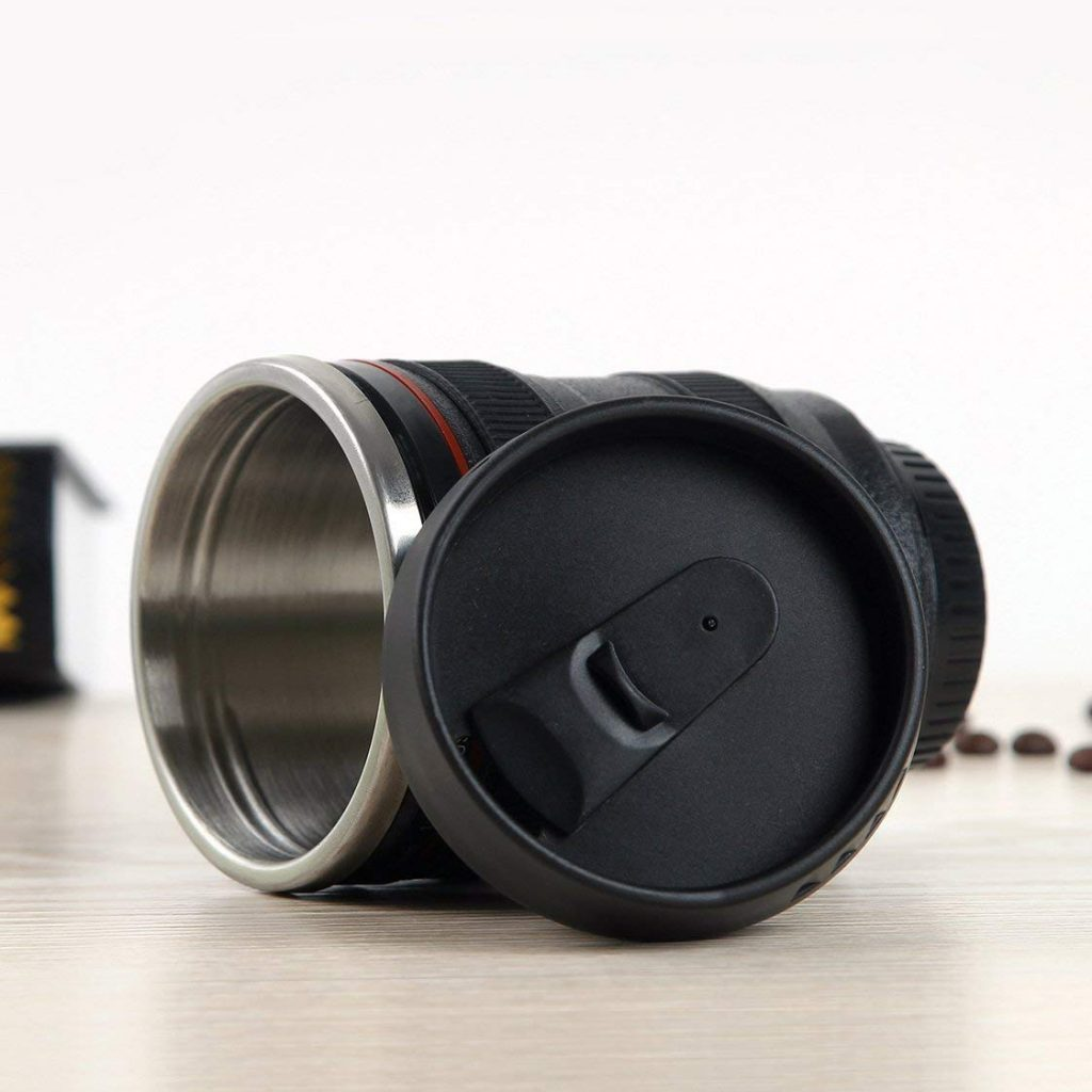 Coffee Mug - Camera Lens Travel Thermos - Stainless Steel Insulated Cup